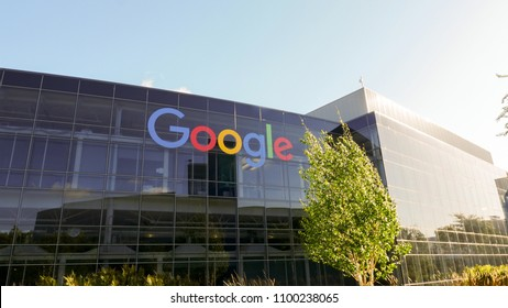Mountain View, California, USA - May 2018. Google Googleplex campus Headquarters office logo on the glass building located in San Jose, Mountain View California, USA