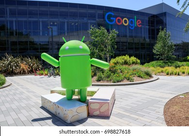 Mountain View, California, USA - May, 2017: Googleplex - Google Headquarters office buildings with Android Nougat replica (Sculpture of Android)