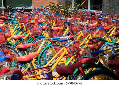 Mountain View, California, USA - May, 2017: Colorful bicycles for employees at Googleplex - Google Headquarters office buildings