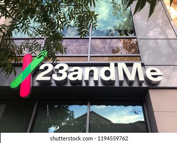 MOUNTAIN VIEW, CALIFORNIA / USA - October 2, 2018:  A logo sign of 23andMe outside of the headquarters. The company is an American personal genomics and biotechnology company based in Silicon Valley