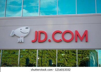 Mountain View, California, USA - October 28, 2018: Logo and mascot of Chinese JD.com e-commerce company on the facade of office in Silicon Valley, San Francisco Bay Area