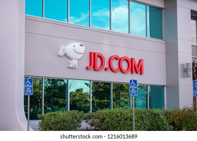 Mountain View, California, USA - October 28, 2018: Mascot and logo of Chinese JD.com e-commerce company on the facade of office in Silicon Valley, San Francisco Bay Area