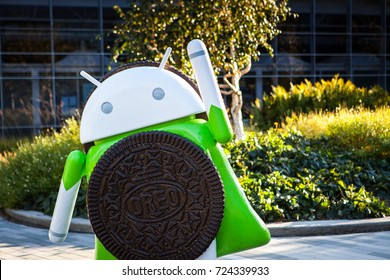 MOUNTAIN VIEW, CALIFORNIA, USA - SEPTEMBER 23, 2017: Google Headquarters with Android Oreo figure at the front. Exterior view of Googleplex, September 23, 2017.