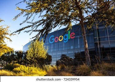 MOUNTAIN VIEW, CALIFORNIA, USA - SEPTEMBER 23, 2017: Google is an American corporation specializing in Internet-related services and products. Exterior view of Googleplex, September 23, 2017.