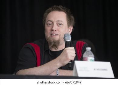 Mountain View, CA/USA: 6/25/17: James Kenneth Woodward, aka J.K. Woodward, speaks at ID10T Festival.  His work includes Star Trek: The Next Generation, Belladonna, X-Men Orgins, Fallen Angel, CSI: NY.