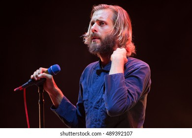"""Mountain View, CA/USA - 9/13/16: Aaron Bruno of Awolnation performs at Shoreline Amphitheater.  Their song """"Sail"""" has been certified 6x platinum by the RIAA and has sold 5,500,000 copies in the USA."""
