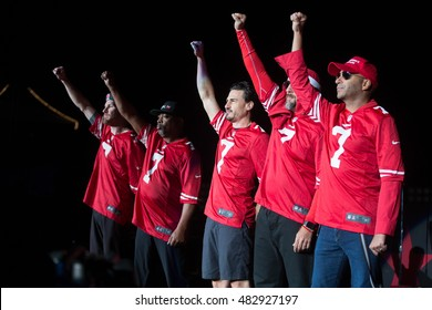 Mountain View, CA/USA - 9/13/16: Prophets of Rage wear San Francisco 49er Colin Kaepernick jerseys.  The band raised their fists as they took the stage.