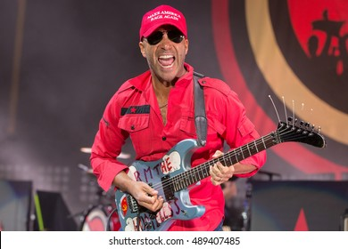 Mountain View, CA/USA - 9/13/16: Tom Morello performs as part of Prophets of Rage at Shoreline Amphitheater.  He's known for his tenure with bands Rage Against the Machine and then with Audioslave.
