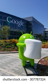 MOUNTAIN VIEW, CA/USA - AUGUST 19: Android Marshmallow replica in front of Google office on Aug 19, 2015.