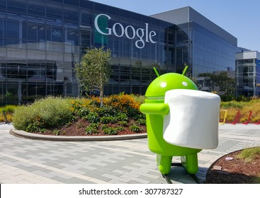 MOUNTAIN VIEW, CA/USA - AUGUST 19: Android Marshmallow (latest OS) replica in front of Google office on Aug 19, 2015.
