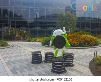 MOUNTAIN VIEW, CA/USA - AUGUST 21: Android Oreo (latest android OS) replica in front of Google office on Aug 21, 2017. Google specializes in Internet related services and products.