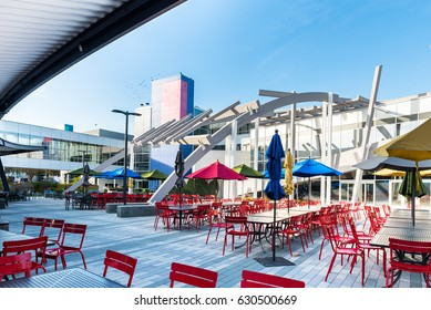 Mountain View, Ca/USA December 29, 2016: Googleplex - Google Headquarters open air dining area