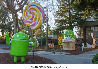 MOUNTAIN VIEW, CA/USA - FEB 16: Android Lollipop replica in Google campus, Mountain View, CA on Feb 16, 2015. It is a multinational company specializing in Internet related services and products.