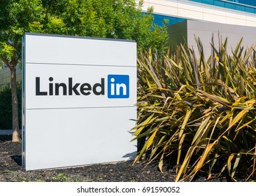 MOUNTAIN VIEW, CA/USA - JULY 30, 2017: Linkedin corporate headquarters sign and logo. LinkedIn  is a business and employment oriented social networking service.