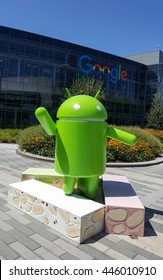 MOUNTAIN VIEW, CA/USA - JUNE 30: Android Nougat replica in front of Google office on June 30, 2016.