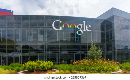 MOUNTAIN VIEW, CA/USA - JUNE 9, 2015: Exterior view of Google office. It is a multinational company specializing in Internet related services and products, and it's the best place to work in 2015.