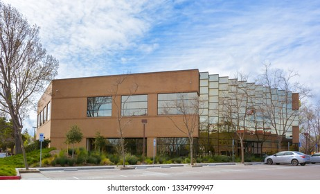 Mountain View, CA/USA - Mar. 9, 2019: A modern office building in Silicon Valley area of California.