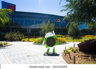 Mountain View, CA/USA - May 21, 2018: Exterior view of a Googleplex building, the corporate headquarters complex of Google and its parent company Alphabet Inc.