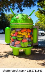Mountain View, CA/USA - May 21, 2018: Android Robot in a Googleplex building complex, the corporate headquarters complex of Google and its parent company Alphabet Inc.