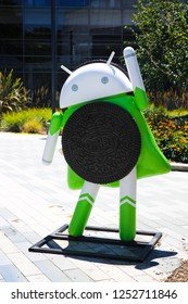 Mountain View, CA/USA - May 21, 2018: Android Robot with Oreo Cookie in a Googleplex building complex, the corporate headquarters complex of Google and its parent company Alphabet Inc.