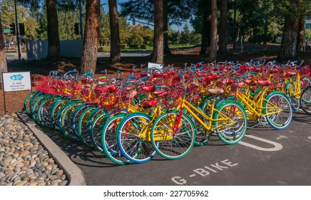 MOUNTAIN VIEW, CA/USA - NOV 2, 2014: Google bikes in its campus. It is a multinational company specializing in Internet related services and products, and it's the best place to work in 2014.