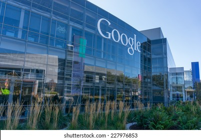 MOUNTAIN VIEW, CA/USA - NOV 2, 2014: Exterior view of Google office. It is a multinational company specializing in Internet related services and products, and it's the best place to work in 2014.