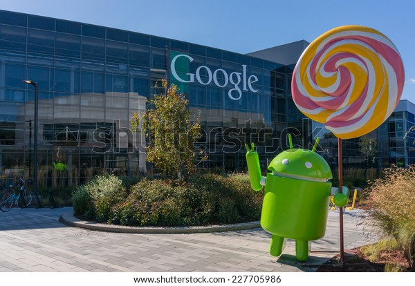 MOUNTAIN VIEW, CA/USA - NOV 2, 2014: Android Lollipop replica in front of Google office. It is a multinational company specializing in Internet related services and products.