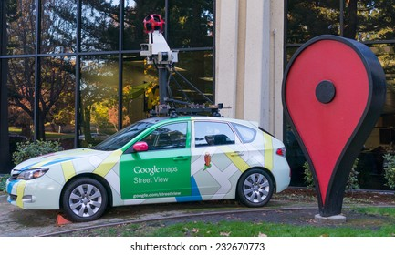 MOUNTAIN VIEW, CA/USA - NOV 22, 2014: Google maps street view car in front of the office. It is a multinational company specializing in Internet related services and products.