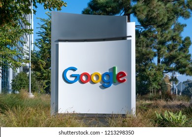 MOUNTAIN VIEW, CA/USA  OCTOBER 21, 2018: Google corporate headquarters and logo. Google is an American multinational technology company that specializes in Internet-related services and products.