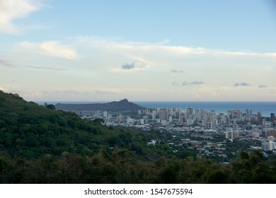 Mountain view of The city of Honolulu from Diamond head to Manoa with Kaimuki, Kahala, and oceanscape visible on Oahu on a nice day at dusk viewed from high in the mountains with tall trees.