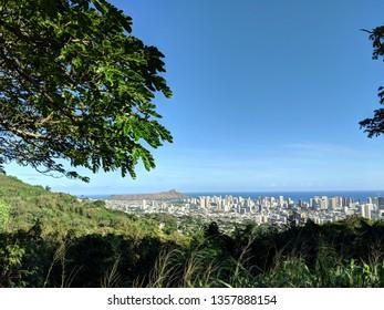 Mountain view of Diamondhead, Honolulu,  and Pacific ocean on Oahu, Hawaii.