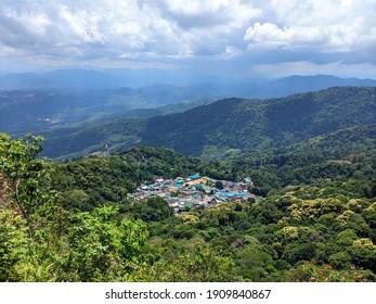 Mountain view of Doi Pui Hmong hill tribe village, Chiang Mai, Thailand