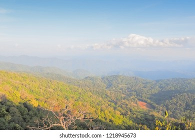 Mountain view evening above the green forest and top hill around with soft mist with blue sky background, sunset at Pang Tong View Point, unseen Mae Hong Son, Thailand.