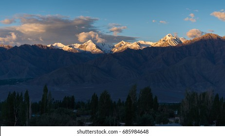 Mountain view  and green trees in Leh Ladakh, India