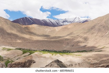 Mountain view with greenery village in summer, Leh Ladakh, India