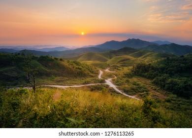 Mountain view of Hills war elephants at sunrise in Thong Pha Phum National Park of Kanchanaburi, Thailand