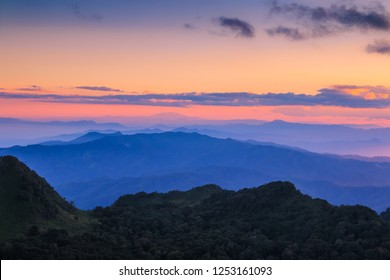 Mountain view with light at Doi Luang Chiang Dao, Chiang Mai, Thailand.