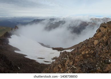 Mountain view with low clouds in National Park Skaftafell in South Iceland