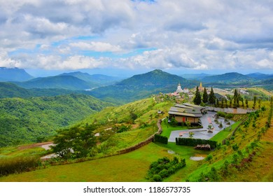 Mountain View and Mist and White Buddha and View of temple on a glass cliff (Wat Pha Sorn Kaew) at Khao Kho, Phetchabun Province, Thailand