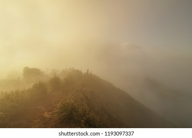 Mountain view misty morning of the mist moving up around the high mountain with warm sun light background, sunrise at top of Doi Pha Hom Pok National Park, Fang, Chiang Mai, northern Thailand.