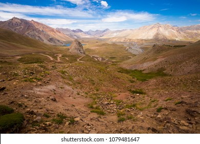 Mountain view on the Andes from valley near Las Lenas in Argentina