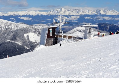 Mountain view on the lift station in Jasna, Low Tatras, Slovakia.