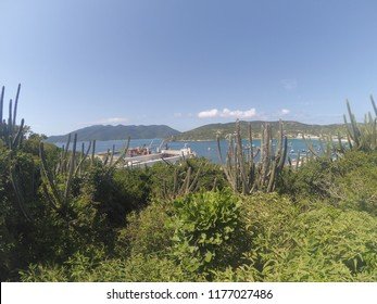 Mountain view of the port and islands surrounded by cactus in the city of Arraial do Cabo, Rio de Janeiro, Brazil.