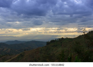 Mountain view and rays of light in the morning , Khao kho Thaila