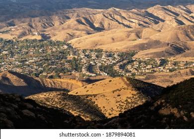 Mountain view of suburban sprawl near Los Angeles in Simi Valley California.