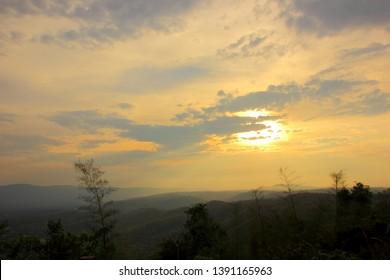 Mountain view at sunrise,Pha Keb Tawan on the sunset. Thap Lan National Park.