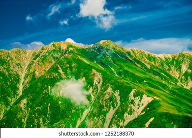 Mountain view of Tateyama in Toyama, Japan. Toyama is one of the important cities in Japan for cultures and business markets.