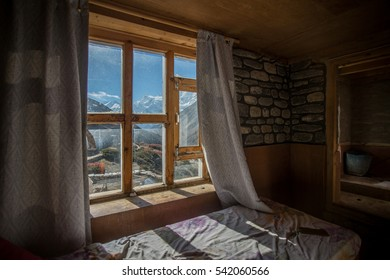 mountain view through the window