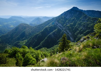 Mountain view towards Crna prst in Slovenian alps - Shutterstock ID 1428221741
