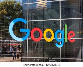 Mountain View, USA - September 25, 2018: Google logo at Googleplex headquarters main office